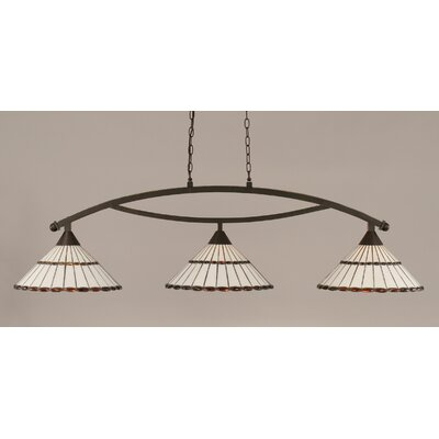 Austinburg Tiffany 3-Light Billiard Light Color: Dark Granite, Shade Color: Honey and Amber Brown
