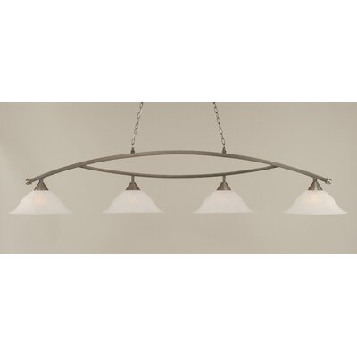 Blankenship 4-Light 150W Kitchen Island Pendant Color: Brushed Nickel