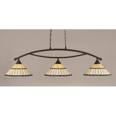 Austinburg Tiffany 3-Light Billiard Light Finish: Dark Granite, Shade Color: Honey and Green