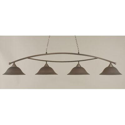 Blankenship 4-Light Billiard Light Color: Brushed Nickel, Shade Color: Gray