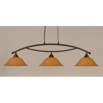 Blankenship 3-Light Billiard Light Finish: Dark Granite, Shade Color: Cayenne