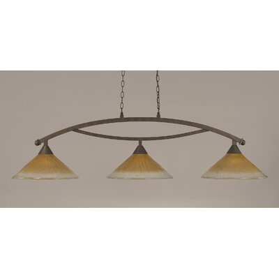 Bow 3-Light Billiard Light Finish: Bronze, Shade Color: Amber
