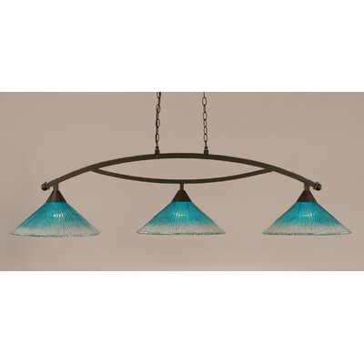Bow 3-Light Billiard Light Finish: Dark Granite, Shade Color: Teal
