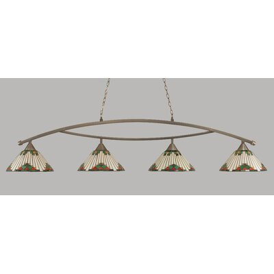 Essonnes 4-Light Billiard Light Finish: Brushed Nickel, Shade Color: Green