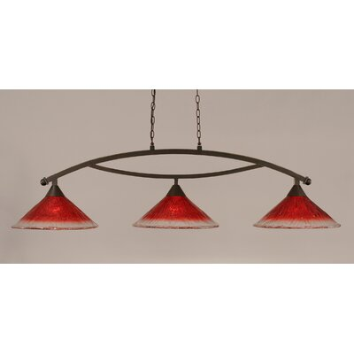 Bow 3-Light Billiard Light Finish: Dark Granite, Shade Color: Raspberry