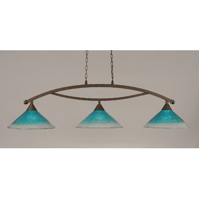 Bow 3-Light Billiard Light Finish: Bronze, Shade Color: Teal