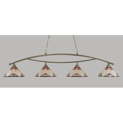 Essonnes 4-Light Billiard Light Finish: Brushed Nickel, Shade Color: Purple