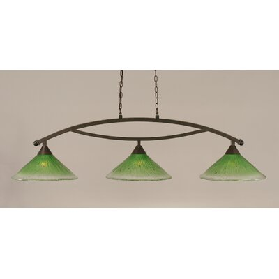 Bow 3-Light Billiard Light Finish: Dark Granite, Shade Color: Kiwi Green