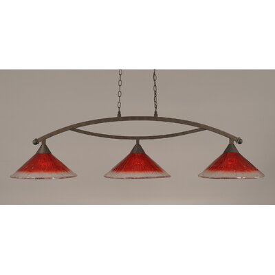 Bow 3-Light Billiard Light Finish: Bronze, Shade Color: Raspberry