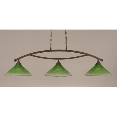Bow 3-Light Billiard Light Finish: Bronze, Shade Color: Kiwi Green