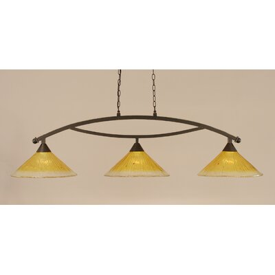 Bow 3-Light Billiard Light Finish: Dark Granite, Shade Color: Gold Champagne