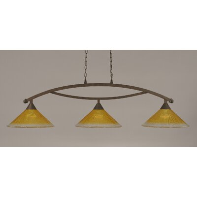 Bow 3-Light Billiard Light Shade Color: Gold Champagne, Finish: Bronze