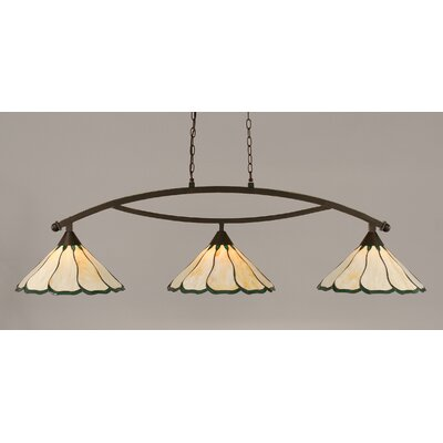 Austinburg Contemporary 3-Light Kitchen Island Pendant Color: Dark Granite, Shade Color: Honey and Hunter Green