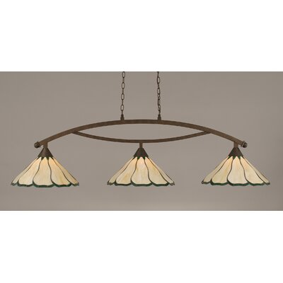 Austinburg Contemporary 3-Light Kitchen Island Pendant Shade Color: Honey and Hunter Green, Finish: Bronze