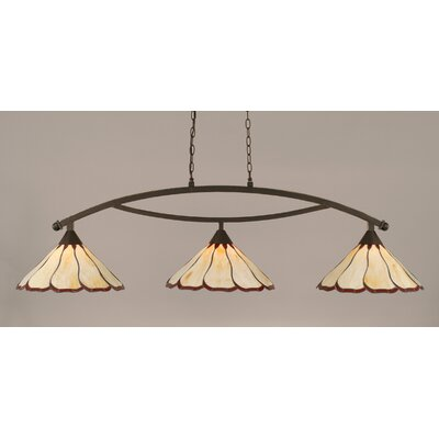 Austinburg Contemporary 3-Light Kitchen Island Pendant Color: Dark Granite, Shade Color: Honey and Burgundy