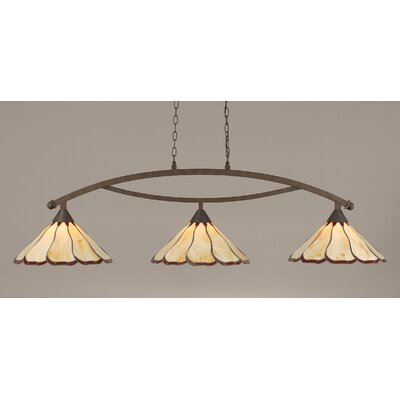 Austinburg Contemporary 3-Light Kitchen Island Pendant Shade Color: Honey and Burgundy, Finish: Bronze