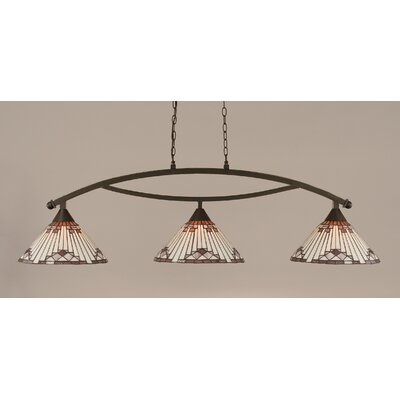 Essonnes 3-Light Glass Shade Kitchen Island Pendant Finish: Dark Granite, Shade Color: Purple