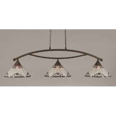 Essonnes 3-Light Glass Shade Kitchen Island Pendant Finish: Bronze, Shade Color: Purple