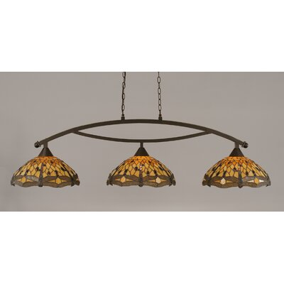 Quinn 3-Light Billiard Light Finish: Dark Granite