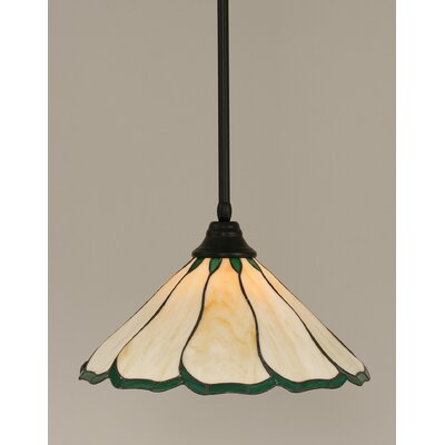 Stem 1-Light Mini Pendant Shade Color: Honey and Hunter Green