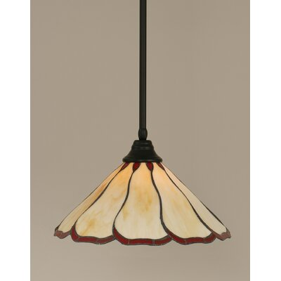 Stem 1-Light Mini Pendant Shade Color: Honey and Burgundy