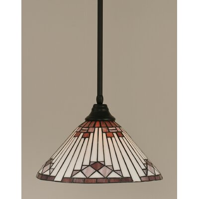 Stem 1-Light Mini Pendant Shade Color: Purple, Finish: Matte Black