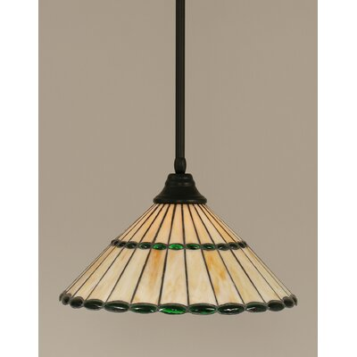 Stem 1-Light Mini Pendant Shade Color: Honey and Green
