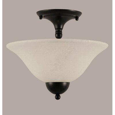 2-Light Semi Flush Mount Shade Color: White, Finish: Matte Black