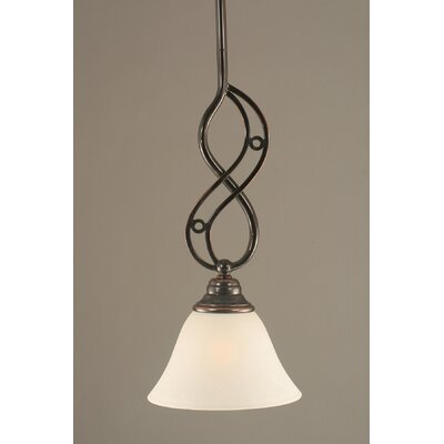 Jazz Mini Pendant With Hang Straight Swivel Finish: Black Copper, Shade Color: Charcoal Spiral Glass, Size: 7 W