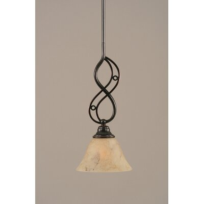 Jazz Mini Pendant With Hang Straight Swivel Finish: Black Copper, Shade Color: Italian Marble Glass, Size: 7 W