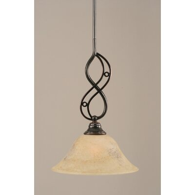 Jazz Mini Pendant With Hang Straight Swivel Finish: Black Copper, Size: 10 W, Shade Color: Italian Marble Glass