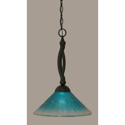 Bow 1-Light Mini Pendant Shade Color: Teal, Size: 19 H x 12 W