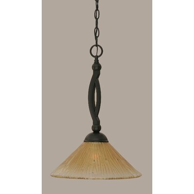Bow 1-Light Mini Pendant Size: 19 H x 12 W, Shade Color: Amber