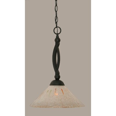 Bow 1-Light Mini Pendant Size: 19 H x 12 W, Shade Color: Frosted