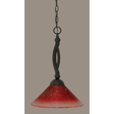 Bow 1-Light Mini Pendant Shade Color: Raspberry, Size: 19
