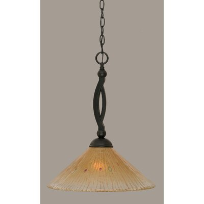 Bow 1-Light Mini Pendant Shade Color: Amber, Size: 19.75 H x 16 W