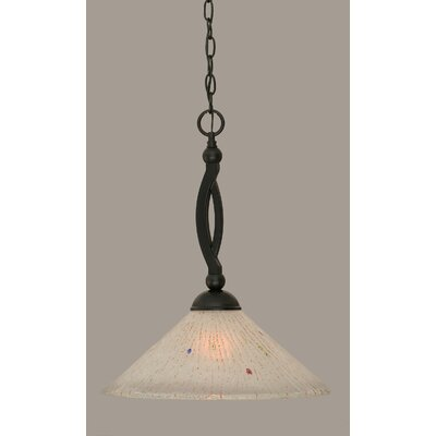 Bow 1-Light Mini Pendant Shade Color: Frosted, Size: 19.75 H x 16 W