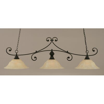 Babin 3-Light Billiard Light Shade Color: Amber, Finish: Matte Black
