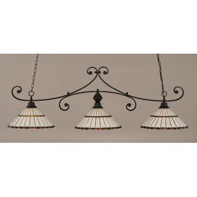 Copeland 3-Light Billiard Light Finish: Matte Black, Shade Color: Honey and Amber Brown