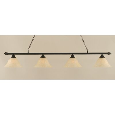 Oxford 4-Light Billiard Light Finish: Dark Granite, Shade Color: Amber, Size: 12 H x 74 W