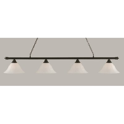 Oxford 4-Light Billiard Light Size: 12 H x 74 W, Shade Color: White, Finish: Dark Granite