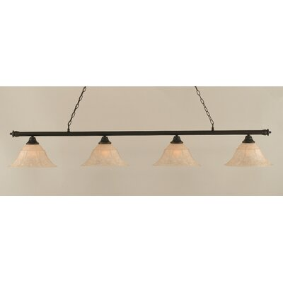 Passabe 4-Light Bell Shade Billiard Light Finish: Dark Granite, Size: 12 H x 74 W