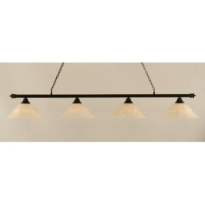 Oxford 4-Light Billiard Light Shade Color: Amber, Size: 11.25 H x 75.75 W, Finish: Dark Granite