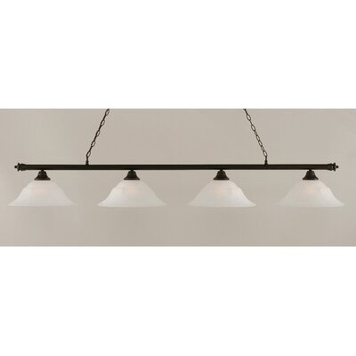Oxford 4-Light Billiard Light Finish: Dark Granite, Shade Color: White, Size: 11.25 H x 75.75 W