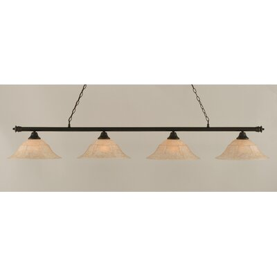 Passabe 4-Light Bell Shade Billiard Light Finish: Dark Granite, Size: 11.25 H x 75.75 W