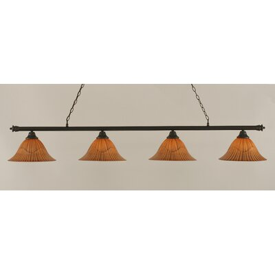 Passabe 4-Light Tiger Shade Billiard Light Finish: Dark Granite, Size: 12 H x 73.5 W