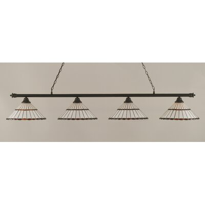 Oxford 4-Light Billiard Light Finish: Dark Granite, Shade Color: Honey and Amber Brown