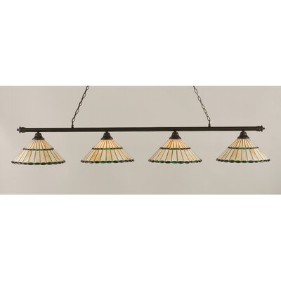 Oxford 4-Light Billiard Light Shade Color: Honey and Green, Finish: Dark Granite