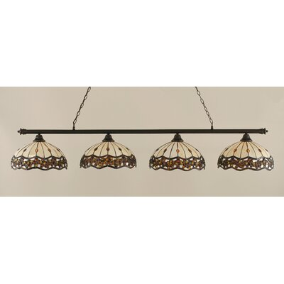Passabe 4-Light Jewel Tiffany Shade Billiard Light Finish: Dark Granite