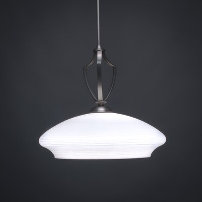 Zilo 1-Light Bowl Pendant Shade Color: White, Base Finish: Graphite